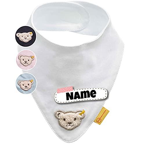 Steiff Baby Halstuch personalisiert   individuell bestickt mit Namen   100% Baumwolle   4 Farben verfügbar (Schneeweiß)