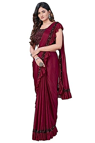 DIYA ENTERPRISE Women's Lycra sequence Ruffle saree with unstiched blouse piece (Free size) (Maroon)