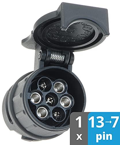 valonic Adaptateur de remorque de 13 Broches vers 7 Broches   Noir   pour Voiture, remorque, Camion, Caravane