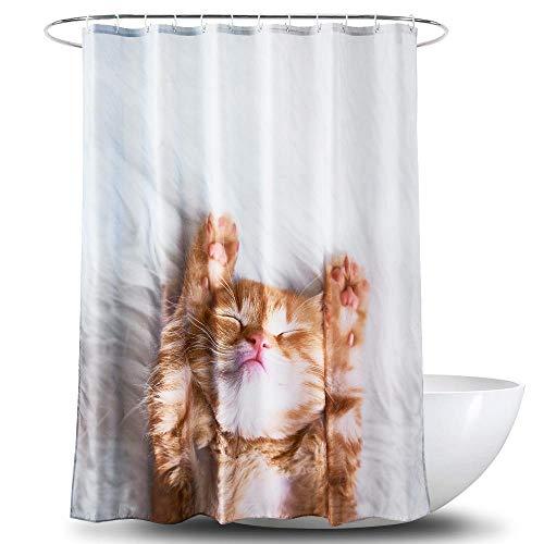 chuanglanja Wasbaar Bad Gordijn Kat print patroon verdikte polyester douchegordijn met zware lood 180 * 180cm witte print