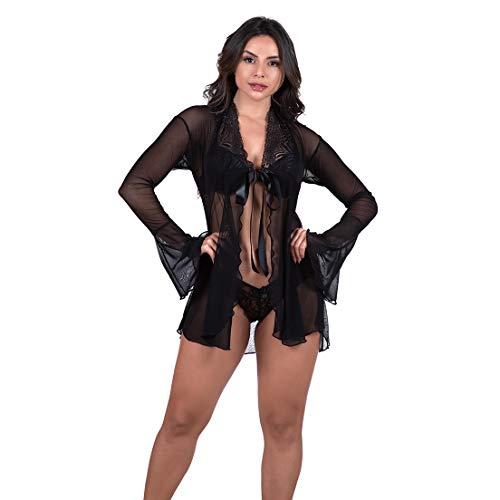 Robe Feminino Sensual Premium em Tule Diário Íntimo (G, Preto)