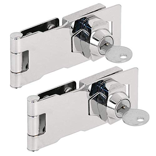 """(2 Packs) Keyed Hasp Locks – Twist Knob Keyed Locking Hasp for Small Doors, Cabinets and More, 4"""" x 1-5/8"""", Stainless Steel Steel, Chrome Plated Hasp Lock with Keys"""