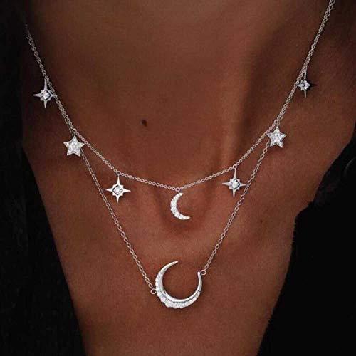 Collana multistrato boema Jovono con pendente a forma di luna per donna e ragazza (argento)