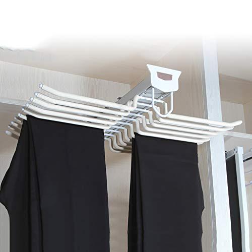 Dra garderob byxor rack, slipshållare klädstång, 20 par byxor klädhängare med spjäll för skåp med ett djup på 47 cm – vit