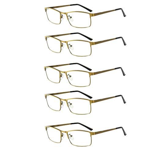 Leesbril 5-pack blauw licht blokkeren, asferische hars lens bril, volledige frame metalen lente scharnier, de zachte siliconen neus pads, voor man en vrouwen