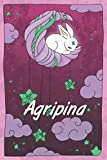 Agripina: personalized notebook | sleeping bunny on the moon with stars | softcover | 120 pages | blank | useful as notebook, dream diary, scrapbook, journal or gift idea