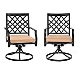 MEOOEM Outdoor Patio Dining Chairs Set of 2 Swivel Porch Chairs Metal Arm Chair for Garden Bistro