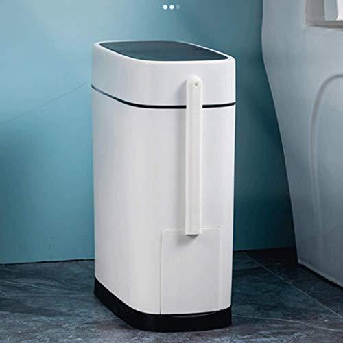 Mini bote de basura,Bote de basura Inodoro Bote de basura Inodoros domésticos cubiertos Estrecho y pequeño Cepillo de inodoro Cubierto Basura Desodorante impermeable Bote de basura de escritorio