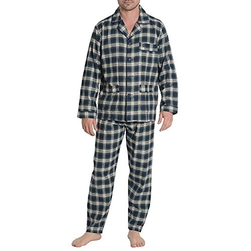 El Búho Nocturno - Pijama Hombre Largo Premium Solapa Franela Cuadros Verde Talla 3 (M) Amarillo 100% algodón