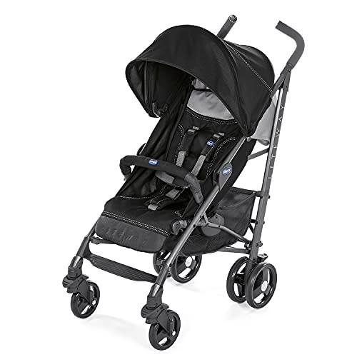 Chicco Liteway 3 Leichter, Faltbarer Kinderwagen von 0 Monaten bis 22 kg, verstellbarer und kompakter Kinderbuggy mit Frontbügel, Schlafposition, Regenschirmverschluss, Ausziehbares Verdeck