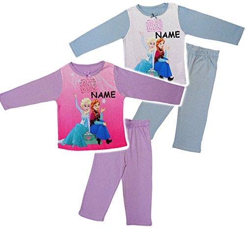 alles-meine.de GmbH 2 TLG. Set _ Hausanzug / Schlafanzug -  Disney Frozen - die Eiskönigin  - incl. Name - Größe: 5 - 6 Jahre - Gr. 122 - 128 - 100 % Baumwolle - Langer Pyjama ..