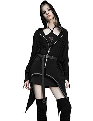 Punk Rave Chaqueta de mujer gótica irregular con cuello con capucha, corte en A, cinturón Negro XXL
