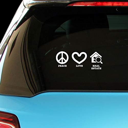 PressFans - Peace Love Real Estate Car Laptop Wall Sticker