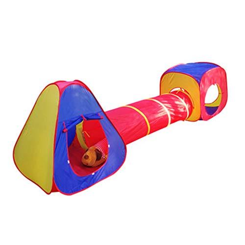 Driedelige tent voor kinderen (tent * 2 + tunnel * 1), draagbare kinderen speelhuisje, met kinderbad tunnel, opvouwbaar, gaas ademend/waterdicht/scheurbestendig, exclusieve ruimte voor baby's