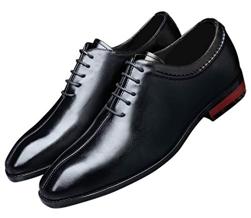 Mens Lace Up Dress Shoes Italy Prince Classic Modern Formal Leather Men Wholecut Oxford Shoes Black 9 US