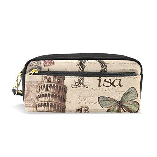 Eslifey Paris Pisa - Estuche portátil de piel sintética para lápices y cosméticos, resistente al agua