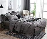 AShanlan Set di biancheria da letto 200 x 220 cm, grigio antracite, tinta unita, copripiumino 100% morbida e confortevole microfibra con chiusura lampo, 1 copripiumino 200 x 220 + 2 federe 80 x 80 cm