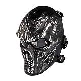 Masque de squelette pour Halloween - Masque airsoft - Masque tactique de paintball - Pour jeu de fête airsoft CS - Protection des yeux grise