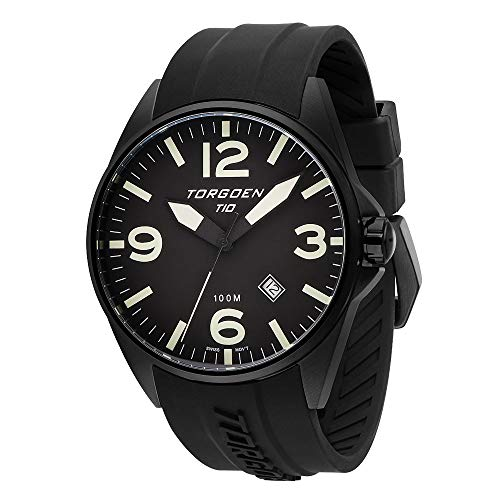 Torgoen T10 Black Pilot Watch | 45mm - Black Silicone Strap