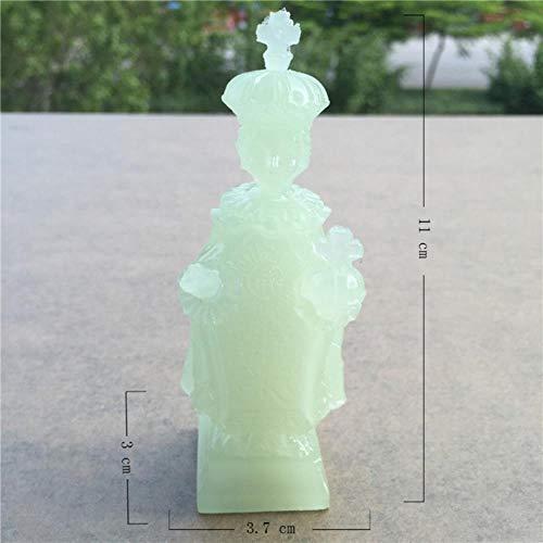 THREE Brillantes Figuras de Madonna y niños Hecho por el Hombre Piedra de Jade Virgen María Estatuas de Jesús Decoraciones de Navidad para el hogar, Niño