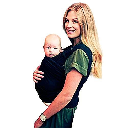 Béaba x Najell, Tragetuch, Babytragetuch, vorgebunden, absoluter Komfort, Haut auf der Haut, Öko-Tex-zertifizierter Stoff, ab Säugling, bis 9 kg, Schwarz (M/L-40/44)