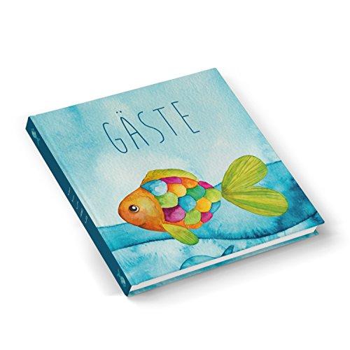 Hochwertiges Gästebuch maritim blau türkis BUNTER FISCH 21 x 21 cm 100 Seiten Hardcover - Geschenk...