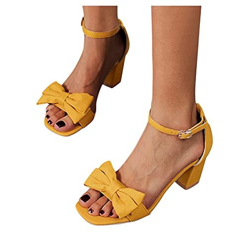 Briskorry Sandalen met hoge hakken voor dames, dikke hiel en boog, één woord gesp, open tenen, effen, comfortabele gespriem, sandalen, banketschoenen, vrouwen, sandalen, vrije tijd, zomerschoenen