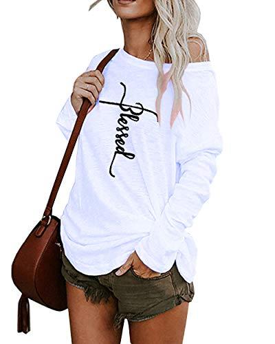 Damen T-Shirts Sweatshirt Langarm Tops Damen Blusen Herbst und Winter Sexy Lässig Oberteil Einfarbig, Brief, Drucke (C-Weiß,s