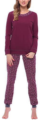 Merry Style Damen Schlafanzug MS10-236 (Weinrot/Sterne, S)