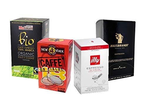 Espresso Pads-Set 'Alta Italia': Hausbrandt, illy, Caffè New York, Caffè Molinari 100 % Bio-Arabica, insg. 72 ESE Pods (je 18 ESE Pads)