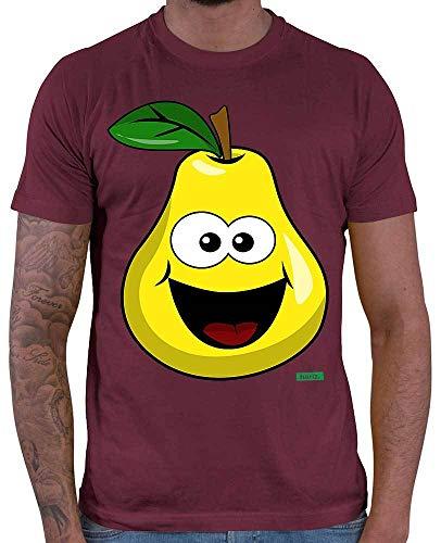 HARIZ  Herren T-Shirt Birne Lachend Früchte Sommer Plus Geschenkkarte Wein Rot XL
