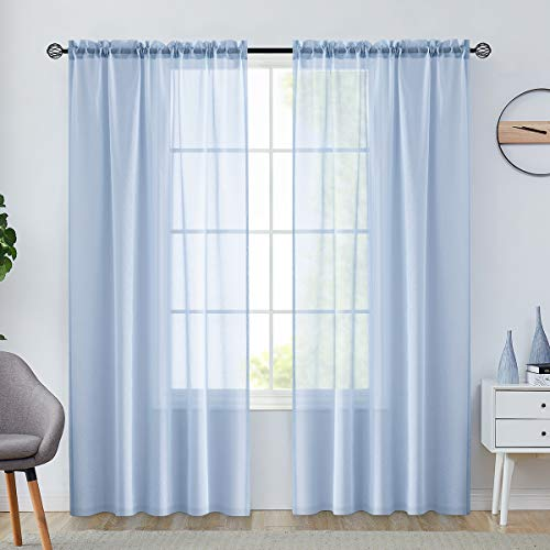 jinchan Sheer Curtains 84 Inch Length Window Curtain Set for Living Room Drapes Textured Voile Rod Pocket Sheer Window Panels for Bedroom 2 Panels Blue