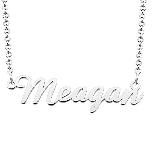 UNIQUEEN Personalised Necklaces Custom Meagan Name Necklace 925 Sterling Silver Pendant for Women