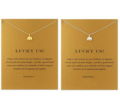 Hundred River Elephant Necklace with Message Card Gift Card Graduation Gift (2 Elephant)