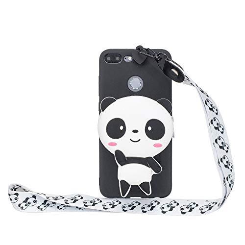 HopMore Kompatibel mit Huawei Honor 9 Lite Hülle Silikon Mit Kopfhörer Tasche Schlüsselband Muster Honor 9 Lite Handyhülle 3D Schutzhülle Weich Handy Hülle Stoßfest Silikonhülle - Panda