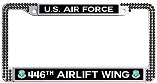 Makoncase US Air Force 446th Airlift Wing Auto License Tag Holder,Black Rhinestones License Cover Holder