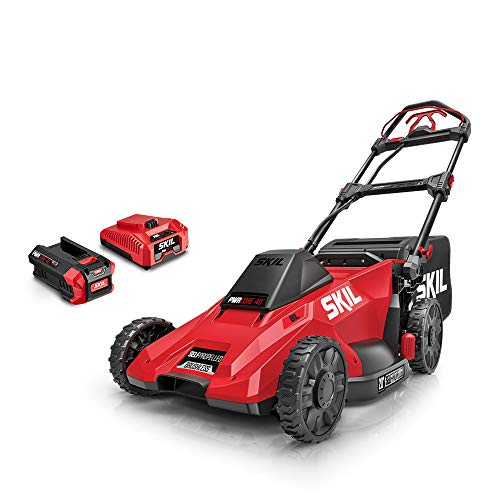 SKIL SM4910-10 CORE 40 20-Inch 40V Self Propelled Brushless Mower Kit Includes 5.0Ah Battery and Auto PWR Jump Charger, Red