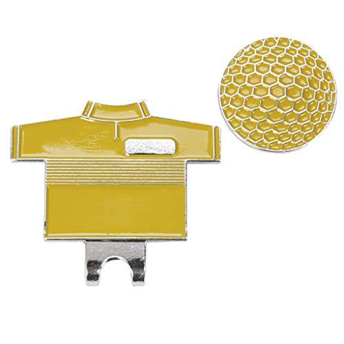 Golfball Marker mit Magnetischem Golfhut Clip Ballmarker Golf Shirt und Golfball Muster für Golf Zubehör Mini Edelstahl - Gelb