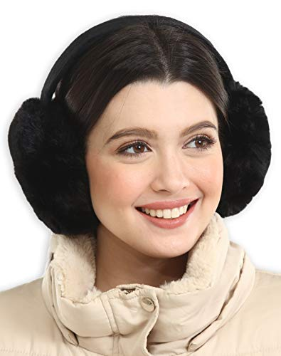 Womens Ear Muffs  Winter Ear Warmers/Covers  Cable Knit Furry Fleece Earmuffs for Cold Weather
