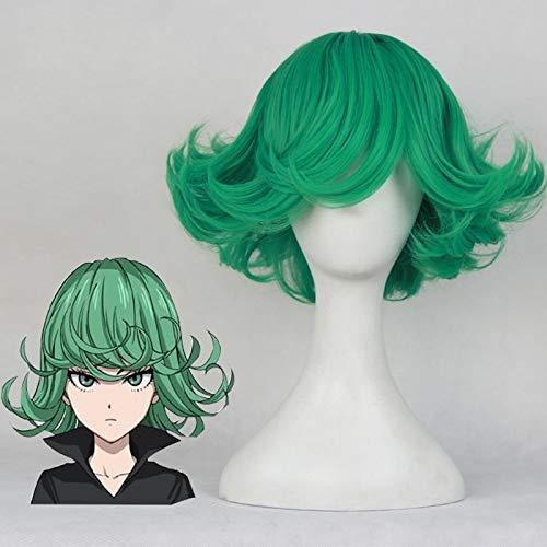 Peluca de Cosplay de One Punch Man Tatsumaki 30cm 11,81 '' Peluca corta y rizada ondulada resistente al calor pelo sinttico Anime disfraz fiesta peluca verde