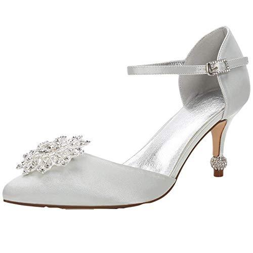 Zapatos para mujer con diamantes de imitación D-Orsay Tacones puntiagudos, color Plateado, talla 39 EU