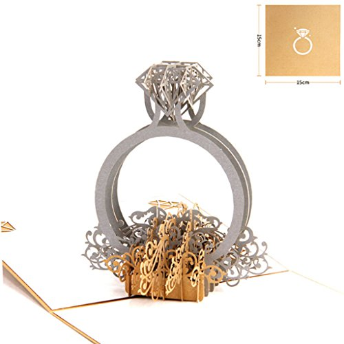Exing Geburtstagskarte Graduierung,3D Pop Up Ring Hochzeit Einladungskarte Geburtstag Weihnachten Muttertag Gif