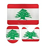 Juego de 3 servilletas de bandera libanesa en Mojo, alfombrilla de baño antideslizante absorbente + alfombrilla de inodoro en forma de U + funda para asiento de inodoro