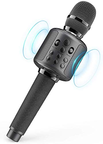 GOODaaa Karaoke Mikrofon Bluetooth für Singen/Musik abspielen/Aufnahme, Tragbar 3000mAh Duett Karaoke-Mikrofon Stereo Drahtlose Dynamisches Handmikrofon mit Lautsprecher Kompatibel mit Android IOS PC