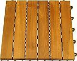 10er Pack Holzfliesen aus Akazienholz, Fliesen Terassenfliese geölt