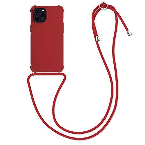 kwmobile Cover a Tracolla Compatibile con Apple iPhone 12 PRO Max - Back Case in TPU Cover con Laccio per Il Collo - Custodia con Cordino