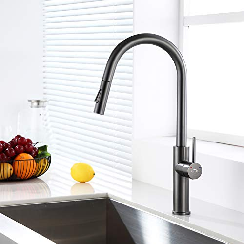 Auralum Grifo de cocina extensible con ducha, 2 tipos de chorro, color gris y negro