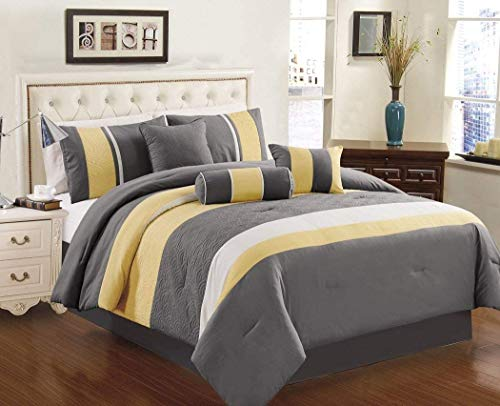 Chezmoi Collection 7-Piece Sunvale Yellow Grey White Comforter Bedding Set (Queen)