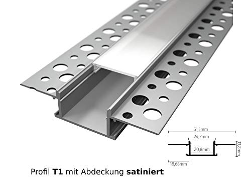 LED Aluminium Profil Unterputz Leiste Rigips Trockenbau 2M Lang für LED-Streifen Profil T1 mit Abdeckung satiniert