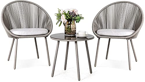 Nuu Garden 3 Piece Patio Table Set Outdoor All Weather Woven Rope Patio Conversation Bistro Set with Cushions, Patio Furniture Sets for Balcony, Garden, Balcony, Deck, Backyard, Gray